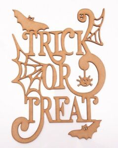 Halloween Wooden MDF Decor Plaque - TRICK or TREAT with Web, Bats & Spider