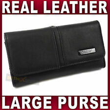 Large REAL Black LEATHER PURSE Ladies credit cards coin section wallet womens