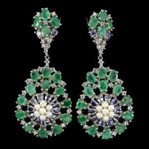 Wow Natural Green Emerald Tanzanite White Pearl W Cz 925 Silver Big Earrings Nr
