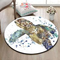 Kitchen Round Carpet Watercolor Turtle Floor Non-Slip Room Bath Door Mat Rugs