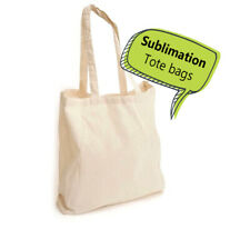 10 blank SUBLIMATION tote bags LONG HANDLE natural beige 10pcs, polyester blend