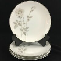 Set of 4 VTG Salad Plates Noritake Melrose Pink Rose Floral Platinum 6002 Japan