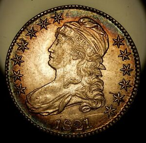 1821 Capped Bust Half Dollar, O-105a - Colorful AU !!