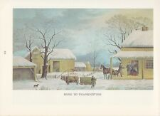 """1974 Vintage Currier & Ives COUNTRY LIFE """"HOME TO THANKSGIVING"""" COLOR Lithograph"""