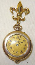 Antique Pendant Watch Hampden Mollystark Ladies Fleur De Lis Pin Gold Filled