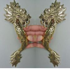 "2 Dragon door pull 30cm POLISHED 100% brass old style handle 12"" long heavy B"