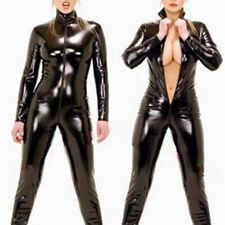 Women Black Latex Playsuits Bodysuit Ladies Zipper Lingerie Jumpsuit Plus Size