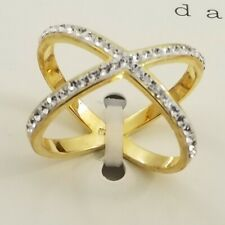 A new day Fashion 14k Gold Plated Ring Size 8 X shaped Crystal stones New