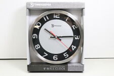 New Timekeeper 9'' Silver Metal Round Wall Clock Sealed (LOC 42D)
