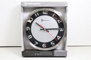 New Timekeeper 9'' Silver Metal Round Wall Clock Sealed (LOC 42D)