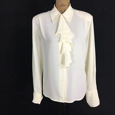 VTG Ivory Blouse 6 Med L JONES WEAR Ruffle Button Long Sl Cuff Dress Shirt Work