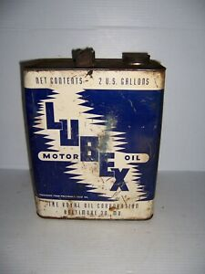 Vintage The Royal Oil Co. Lubex Motor Oil 2 Gallon Can Gas Station Advertising