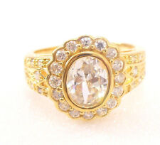Unisex 18K Yellow Gold Plated Clear CZ Cubic Zircon Luxury Party Birthday Ring M