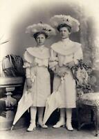 Antique Photo ... Edwardian Women , Holding Parasols ... Photo Print 5x7