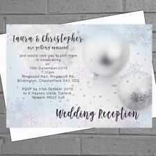 Winter Wedding Invitations Evening Day Silver Pink Bauble x 12 with env H1866