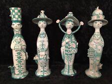 Vintage BJORN WIINBLAD Rare Green & Pink Full Set FOUR SEASONS Ceramic Figurines
