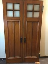 Antique Pine Glass Double Entrance French Doors Arts Crafts 47.25� X 82.5�