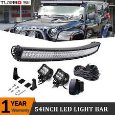 54INCH 312W LED Light Bar + 2x Work Cube Pods For Jeep Wrangler JK TJ