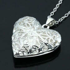 Luxury Woman Silver Picture Locket Hollow Heart Photo Charm Pendant Necklace