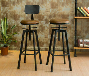 Breakfast Bar Stool Seat Industrial Vintage Kitchen Dining Chair Wood Metal New