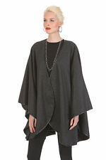 Womens Leather Trimmed Cashmere Cape Shawl Wrap Charcoal Gray Easy and Elegant