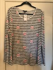 Lane Bryant Light Sweater with Stripes and Hearts