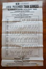 1985 Kettering Train Departures Railway Timetable Poster
