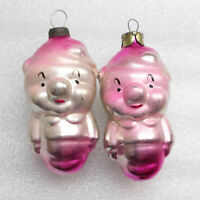 2 Rare Vintage Russian Ussr Glass Christmas Ornaments X-mas Tree Decoration Pigs