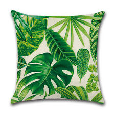 Africa Tropical Plant Print Cushion Cover Green Leaves Pillow Case Decoration 1#