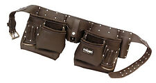 Leather Tool Pouch 10 Pocket Professional Double Oil Tanned Belt Rolson Tools