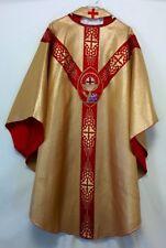 Vintage GOLD CHASUBLE & STOLE 5pcs Priest Vestments Church Clergy Festive