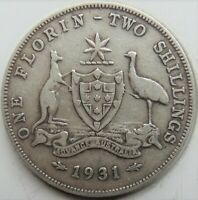 1931 AUSTRALIA George V, silver  Florin, Grading FINE. Up to 4 Available.