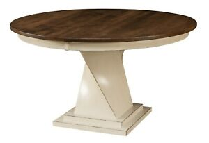 Amish Round Dining Table Transitional Modern Twist Base Solid Wood Lexington