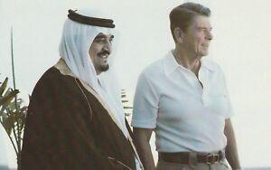 ***ORIGINAL POSTCARD***KÖNIG-PRINZ FAHD OF SAUDI ARABIA-PRÄSIDENT R. REAGAN