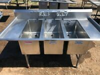 "Stainless Steel 72"" x 38.5 Heavy Duty 3 Compartment Wash Sink w/ Drainboards"