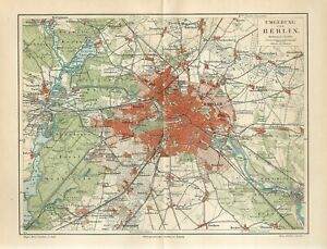 1894 GERMANY BERLIN CITY and SUBURBS Antique Map dated