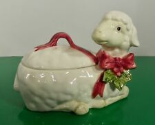 Fitz and Floyd Christmas Lamb Candy Trinket Box 1984 Sheep Holly Berry Bow