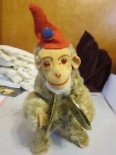 Vintage Clapping Monkey Wind-up Toy Jumps, Claps Cymbols Germany 1960's