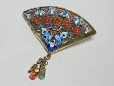 Vintage Chinese Silver Vermeil Fancy Enamel Butterfly Coral Dangle Fan Brooch