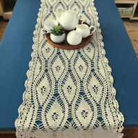 Ecru Vintage Hand Crochet Lace Doily Retangle Table Runner 15x35inch Pattern