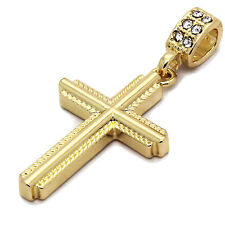 "Mens 14k Gold Plated Braided Cross Pendant With 30"" inches Cuban Necklace Chain"