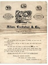 Vintage Headed printed Letter - Allan Cockshut & Co, The Alford Wall Papers