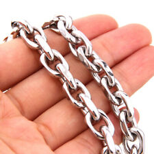 "Stainless Steel Chain Party Gift Jewelry 9mm 24"" Mens Necklace Silver Cable Link"