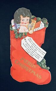 Early Dolly in a Stocking Paper Doll Greeting Card, 1920's, Uncut