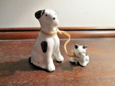 Vintage Japan Porcelain Dog And Puppy On A Leash Figurine