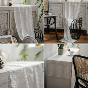 White Lace Table Runner Rectangle Tablecloth Home Warm Dining Kitchen Tea Decor