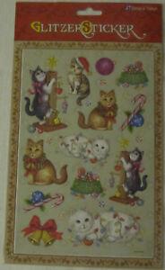Sticker Weihnachten Glitzersticker Hund Katze Weihnachtsdeko