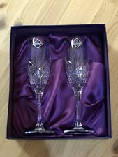 More details for 2 x edinburgh crystal duet cut pattern champagne flutes glasses stickers boxed