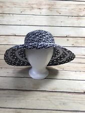 6d4cb58f34061 Nordstrom Womens Black White Straw Sun HAT Floppy Beach Dressy WIDE BRIM  Italy