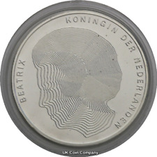 1990 netherlands queen beatrix silver proof-like 50 gulden coin encapsulated